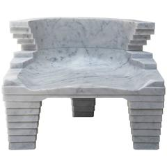 Fjord Carrara Marble Chair by Kossi Aguessy for Carrara Design Factory, Italy
