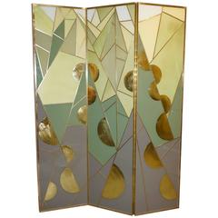 1980s Italian Art Deco Design Brass & Mint Green Gray Yellow White Glass Screen