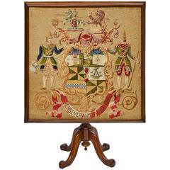 English Late 19th Century Mahogany and Needlepoint Tilt-Top Game/Card Table