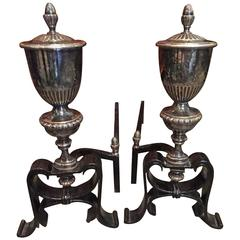 Silver Urn Andirons