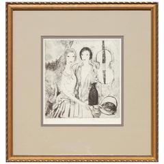 """Marie Laurencin Signed Original Etching, 1923, """"Jeunes Filles Au Violoncelle"""""""