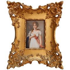 KPM Porcelain Plaque in Vintage Gilt Frame, circa 1900, Queen Louise