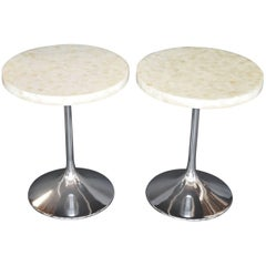 Pair of Honeycomb Mother-of-Pearl Side Tables