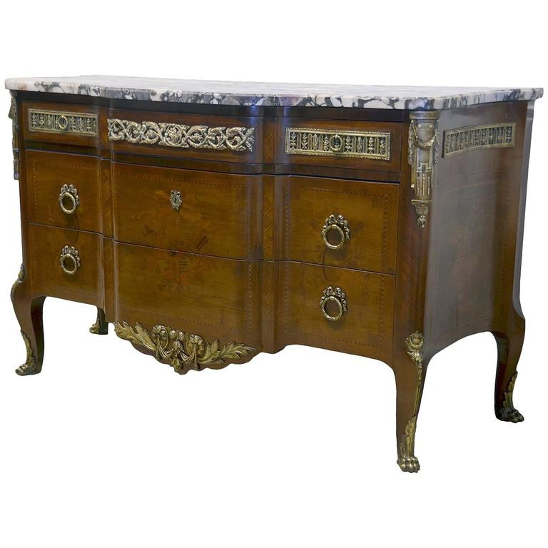 French Louis XV Style Marble-Top Bronze Mounted Commode, Late 19th Century For Sale