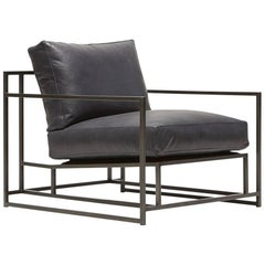 Providence Blue Smoke Leather and Blackened Steel Armchair V1