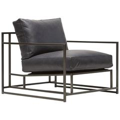 Blue Smoke Leather and Blackened Steel Armchair