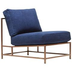 Indigo Canvas and Antique Copper Chair