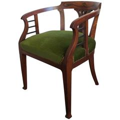 Beautiful Design and Finely Inlaid Art Nouveau Chair with Perfect Upholstery