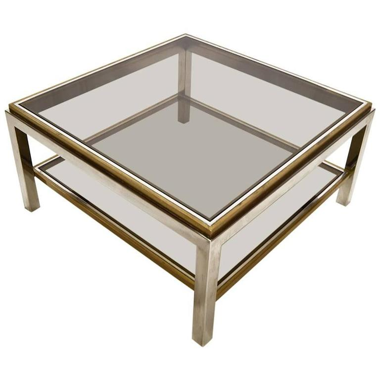Willy Rizzo Chrome Brass And Smoked Glass Coffee Table For Sale At 1stdibs