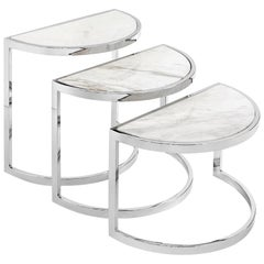 Half Moon Side Table Set of Three with White Marble Top or Glass Top