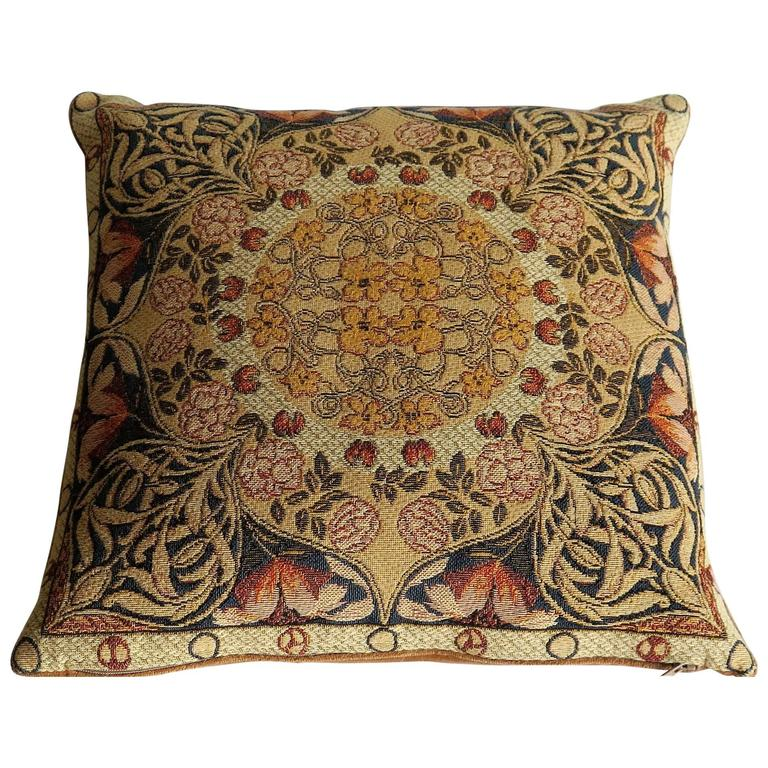 Mid-20th Century, Tapestry Pillow or Cushion, Woven Flemish Art-Nouveau Design