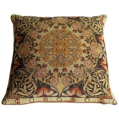 Tapestry Pillow or Cushion Woven Flemish Art-Nouveau Design, Ca 1950's
