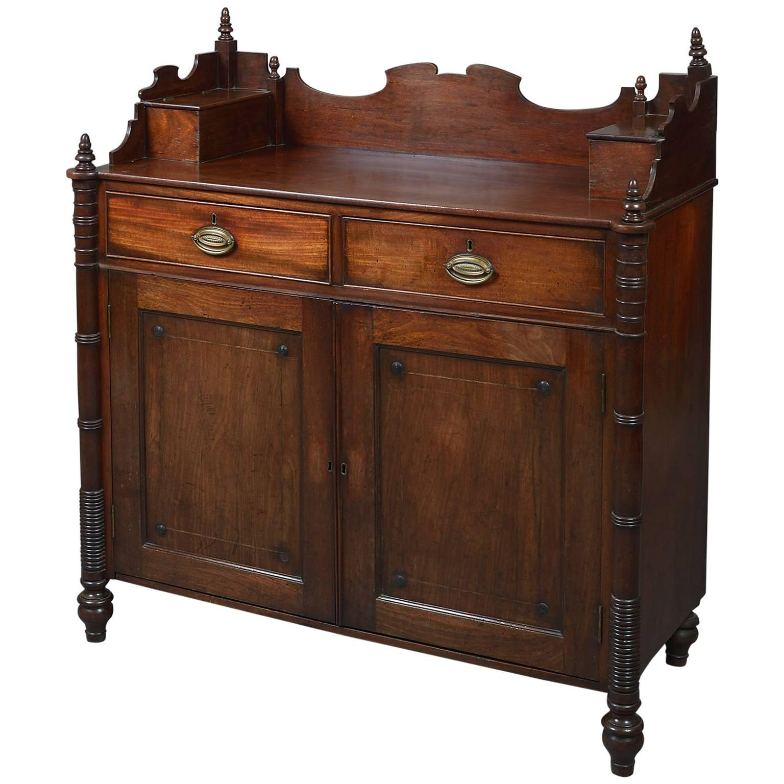 Rare American Federal Period Mahogany Side Cabinet Or Server