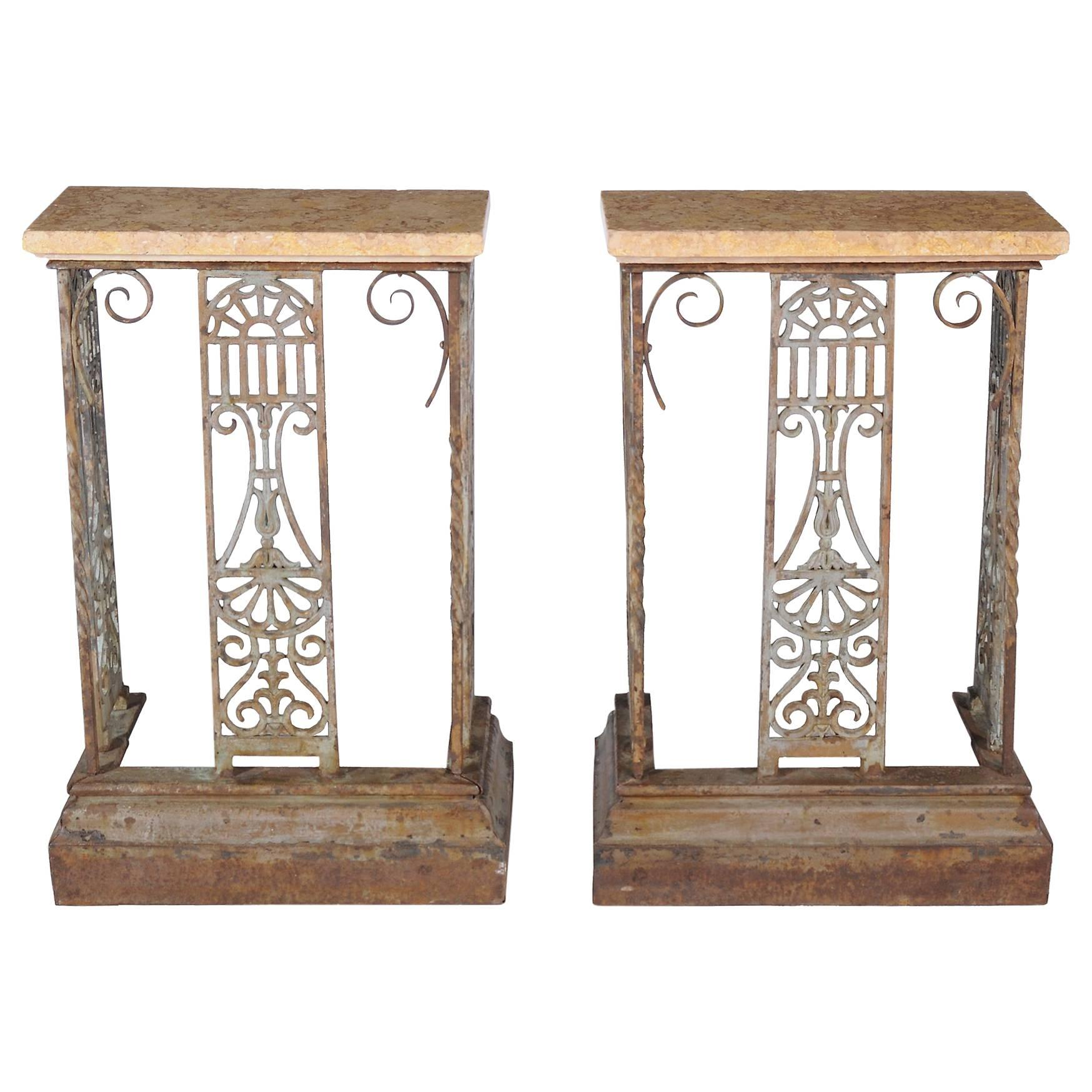 small pair of painted wroughtiron console tables 1