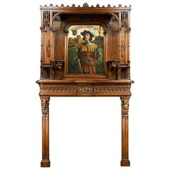 French Walnut Gothic Revival Chimneypiece and Overmantel