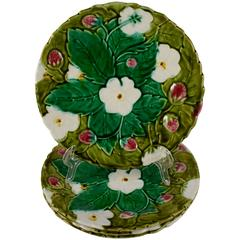 PV France Barbotine Majolica Strawberry Fruit or Dessert Plates, Set of Four