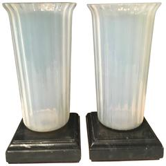 Pair of Opaline Murano Vases on Marble Bases