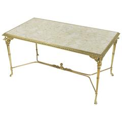 French 1940s Neoclassical Style Brass and Bronze Coffee Table