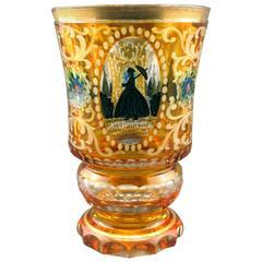 Very Good 19th Century Bohemian Amber Glass Goblet
