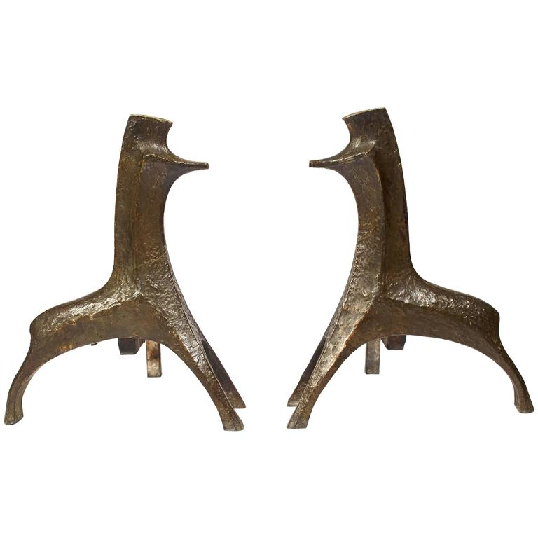 Pair of Stylised Bronze and Wrought-Iron Fire-Dogs 1960s