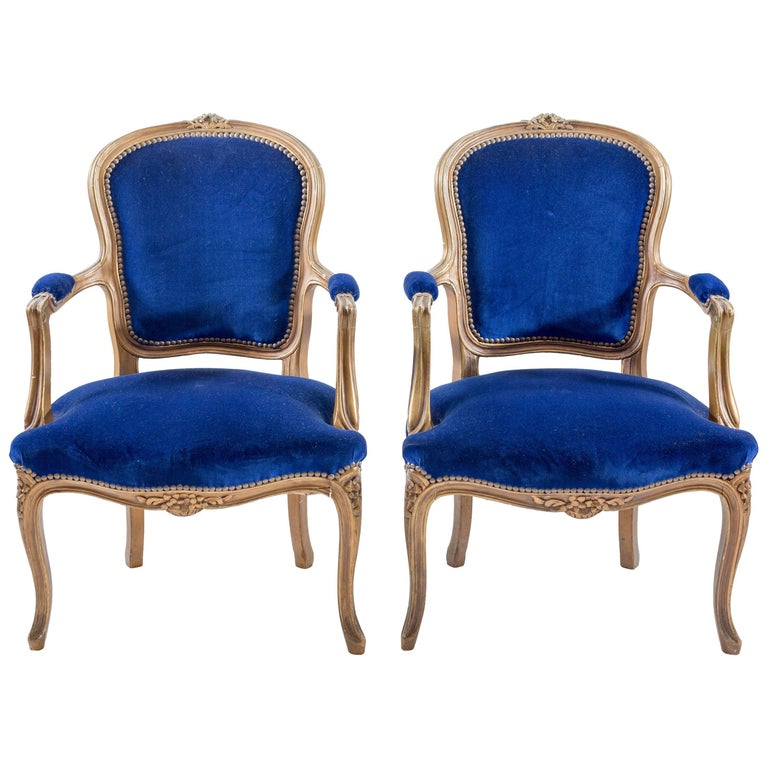 Pair Of Cobalt Blue Velvet Louis Bergere Padded Armchairs For Sale