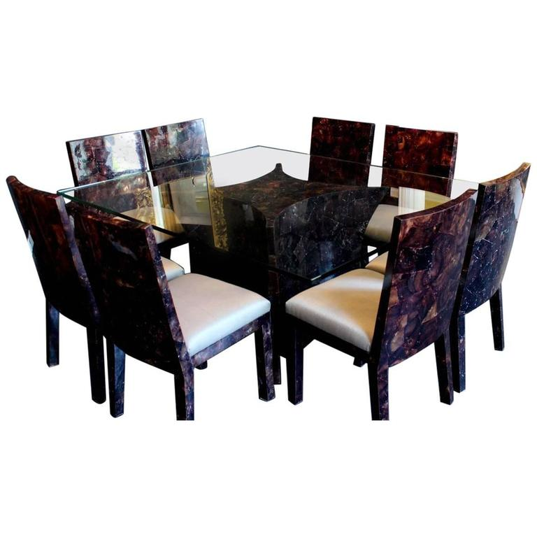 Resin Rectangular Dining Table And Eight Matching Chairs By Budji Layug For  Sale