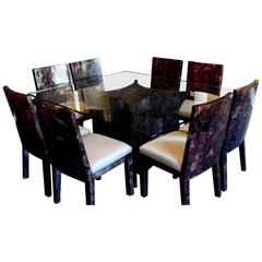Resin Rectangular Dining Table and Eight Matching Chairs by Budji Layug