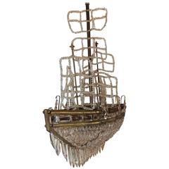 Wonderful Beaded Crystal Bronze Sailboat Ship Boat Chandelier Five-Light Fixture