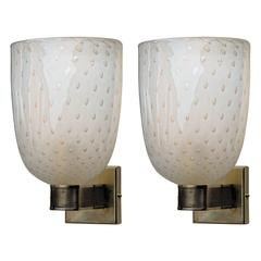Two Art Deco Sconces, Brass Hardware and Gold Leaf Baloton in Venini Style