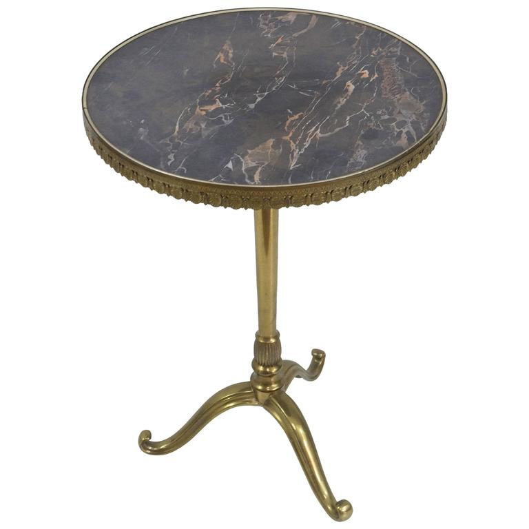 Small Round Br And Bronze Side Table With Faux Marble Top For