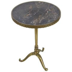 Small Round Brass and Bronze Side Table with Faux Marble Top