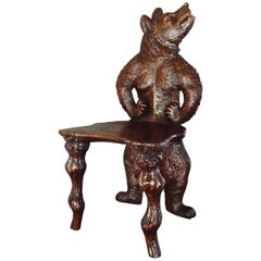 19th Century Black Forest Carved Bear Hall Chair
