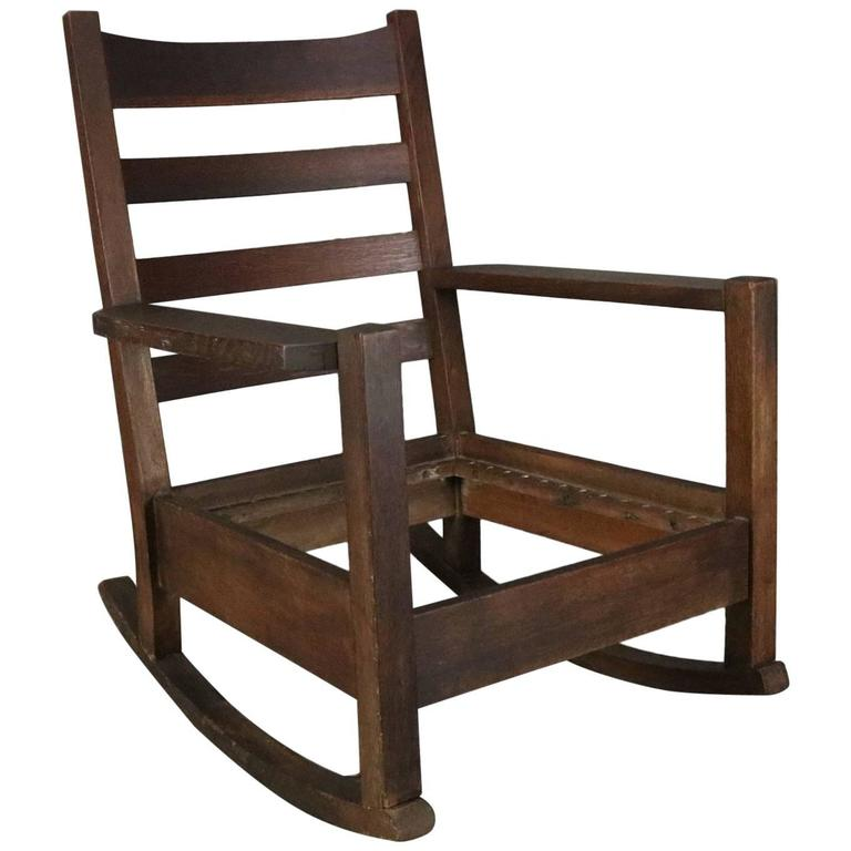 f7aced4b06e73 Early Signed Arts   Crafts Gustav Stickley Oversized Mission Oak Rocker For  Sale