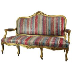 Antique French Louis XIV Style Carved Giltwood Upholstered Settee, circa 1870