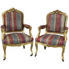 Pair Antique French Louis XIV Style Carved Giltwood Upholstered Armchairs, c1870