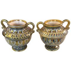 Glistening Pair of Small Italian Lusterware Compotes Urns