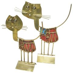 Set of Two Brutalist Cats Sculptures by French Artist Jarc