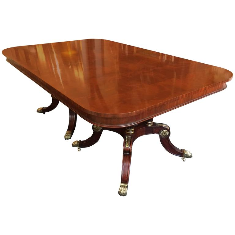 Very Impressive Large Rectangular Double Pedestal Mahogany Dining Table For S