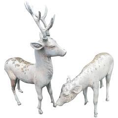 Japan Pair of Antique Hand Cast Bronze Sika Deer Beautiful Details