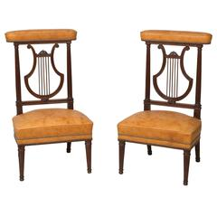 "Pair of Mahogany ""Ponteuses"" Chairs Stamped G.Jacob"