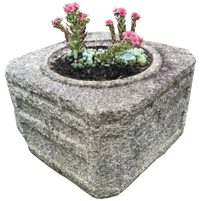 Japan Hand-Carved Stone Water Basin/Planter Art Deco Treasure For Sale