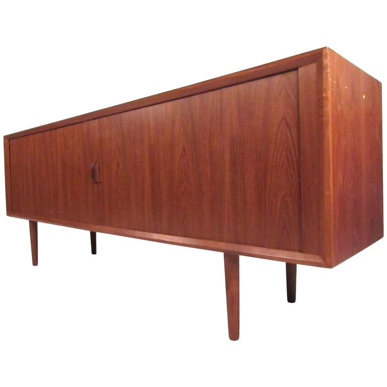 Scandinavian modern tambour door teak sideboard credenza for Sideboard scandi