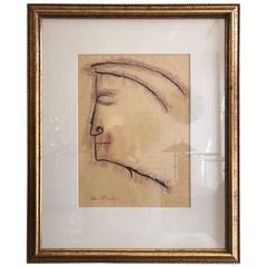 Ben Shahn Drawing Entitled Profile
