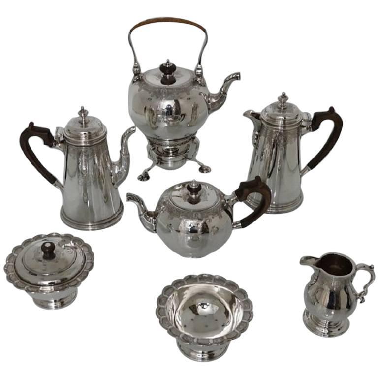 George V Sterling Silver Seven-Piece Tea & Coffee Set Lionel Alfred Crichton