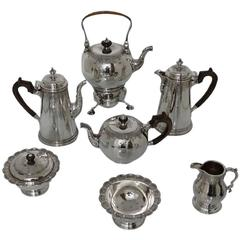 George V Sterling Silver Seven-Piece Tea & Coffee Set Lionel Alfred Crichton