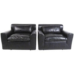 Pair of Knoll Leather Lounge Chairs