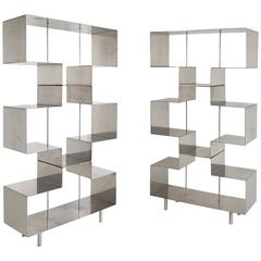 Pair of French Steel Shelves, circa 1970, France