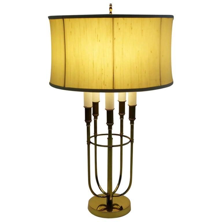 Parzinger Style 1950s Solid Brass Five Candle Boulliotte Table Lamp For Sale