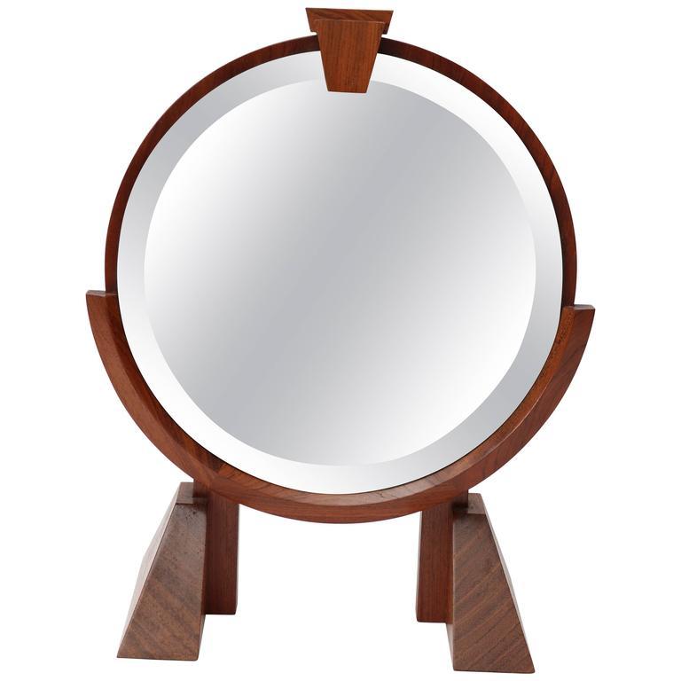 American, Artisan Adjustable Table Mirror In Mahogany, Walnut And Brass 1