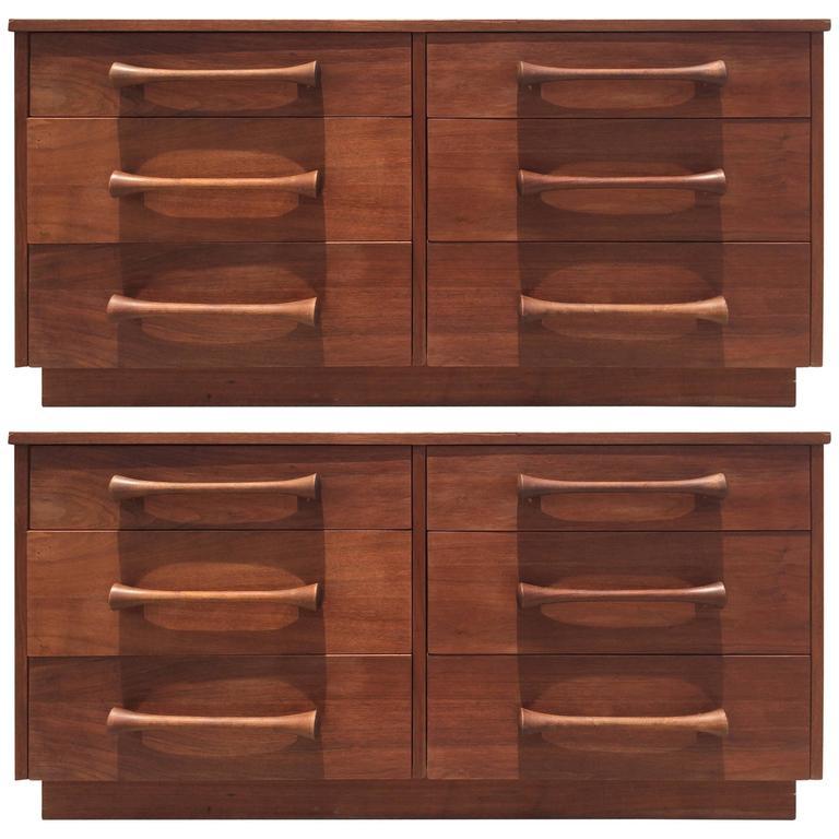 Great Pair of Walnut Dressers, USA, 1950s